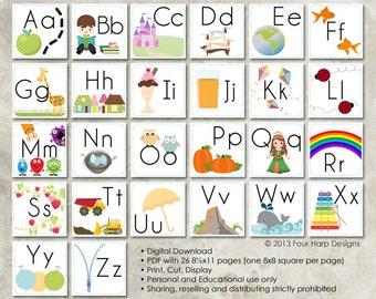 Alphabet Wall Cards - DIY Printable for preschool, early elementary, nursery decor, teaching material, educational printables