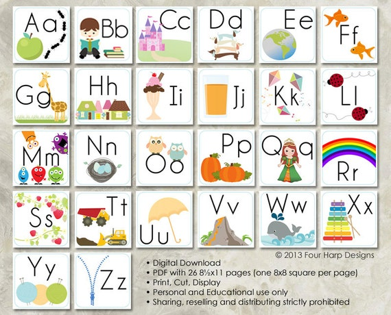 Alphabet Wall Cards DIY Printable For Preschool Early Elementary