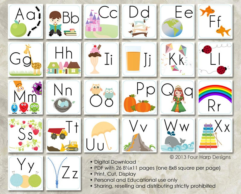 Alphabet Wall Cards DIY Printable For Preschool Early