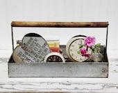 Vintage Metal Tote with Wood Handle