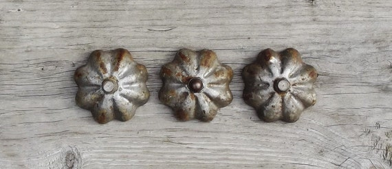 Vintage Flower Shaped Cast Iron Knobs Lot of 3