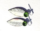flat leaf and parsley leaf and flower enamelled handmade in australia earrings