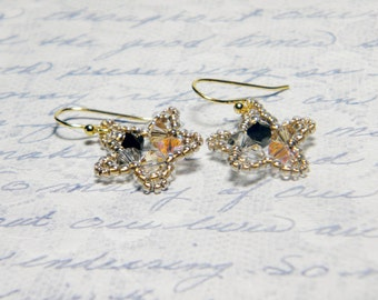 "Golden Swarovski Crystal Star Earrings Beadweaving Sterling Silver - ""24 Karat"""