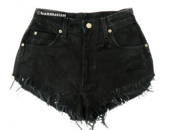 "ALL SIZES ""PLAINO"" Vintage Levi high-waisted denim shorts black distressed frayed jeans"