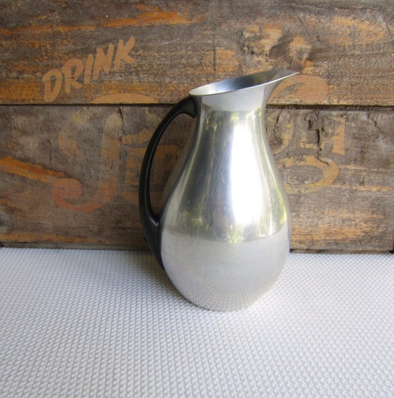 Vintage Italian Mid Century Aluminum Pitcher with Bakelite Handle