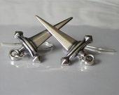 Dagger Earrings Antiqued Silver Brass Metal Sword Earrings Celtic Jewelry Dangle Earring Silver Sword Dangle  Weapon Jewelry