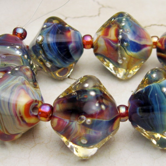 SRA Lampwork Glass Beads, Chunky Crystal Set of 8 - 'Tie Dye'
