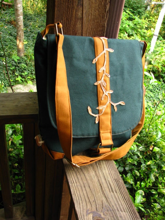 Woodland Messenger Shoulder Bag with adjustable strap, 11 pockets, and water repellent canvas READY TO SHIP