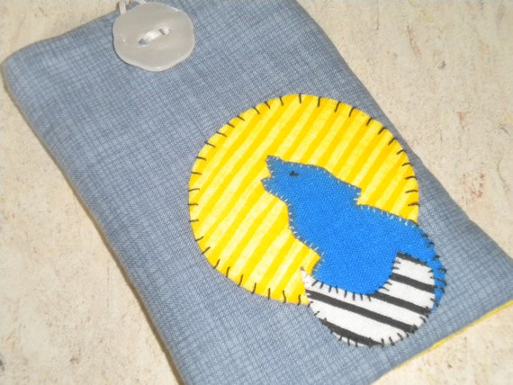 Howling Wolf Organic Cotton IPhone Case Fabric Cell Phone Pouch IPod Sleeve With Earbud Pocket