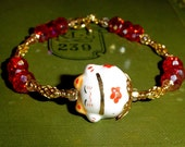 Sale Good luck happy fat cat bracelet in red and gold