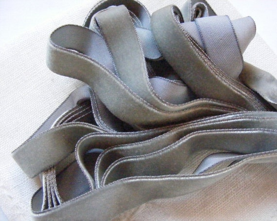 Vintage 1930's-40's French Velvet Ribbon 5/8 inch Antique Elephant Grey