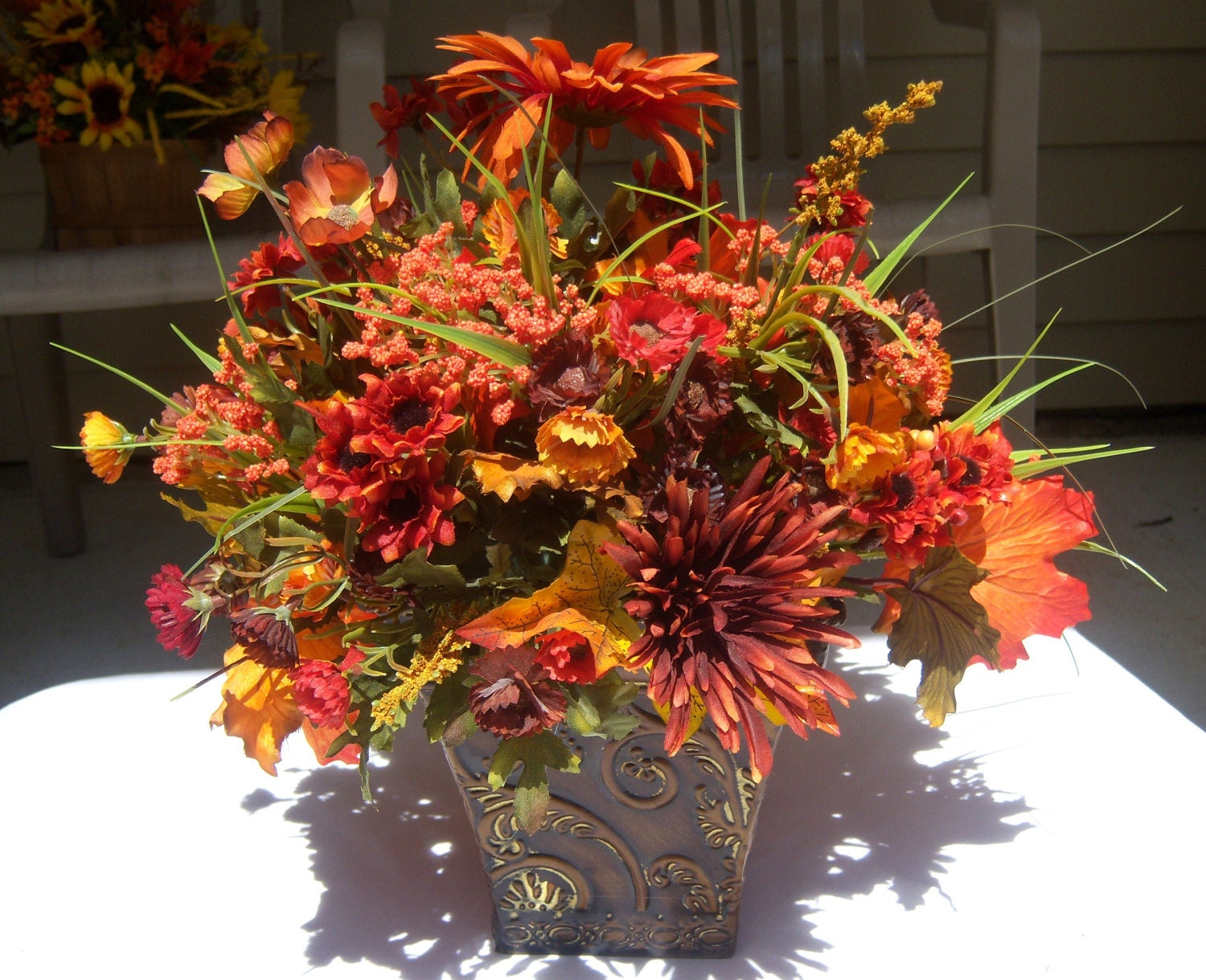 Fall Silk Floral Arrangement by valndees on Etsy