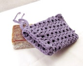 Purple Crochet Soap Saver, Cotton Soap Holder, Purple Soap Bag