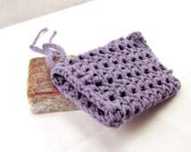 Purple Crochet Soap Saver, Cotton Soap Holder, Purple Soap Bag