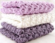 Purple Washcloths, Crochet Washcloths, Cotton Facecloths, Crochet Facecloths, White Washcloths,