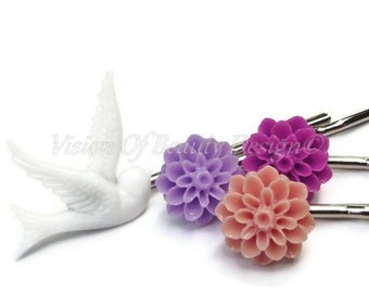 Bobby Pin Set, Purple Passion & Vintage White Dove, Coral, Orchid, Magenta
