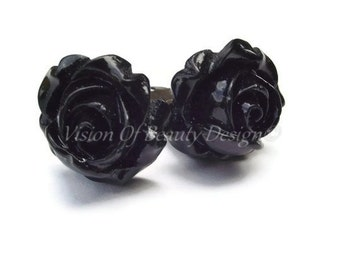 Black Rose Clip On Earrings