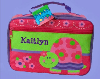 Personalized Stephen Joseph New TURTLE  Lunchbox In Pink and Green For Children-Monogramming Included In Price