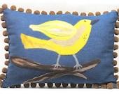 Decorative Bird Pillow: Lemon Yellow Bird