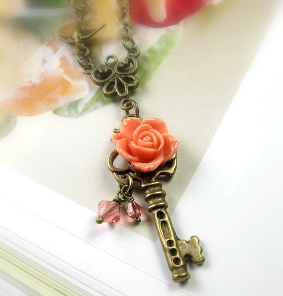 Vintage Style Jewelry, Victorian Style, Peach, Flower Necklace, Key Pendant Necklace, Swarovski, Romantic Jewelry, Nectarine, Orange