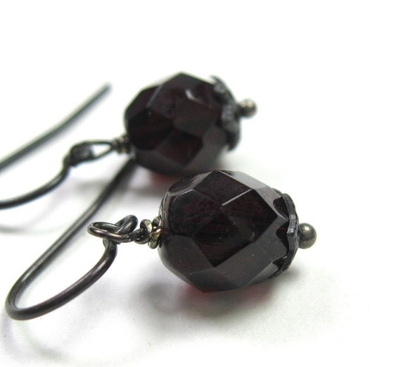 Black Cherry Czech Glass Vintage Style Earrings
