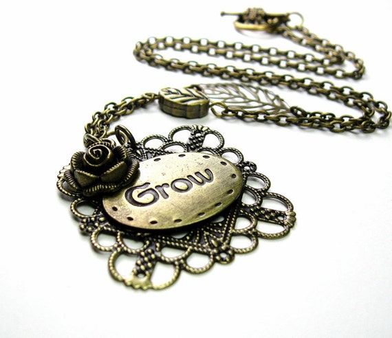 Inspirational Antiqued Brass Flower Leaf Pendant Necklace