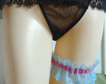 Blue Garter Lace Bridal Vintage Turquoise Pink Cream Lace Burlesque Garter SALE