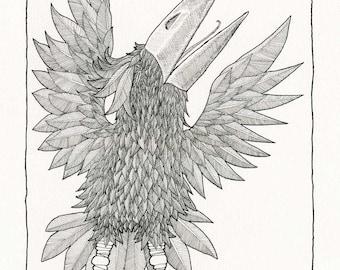 Joyous Bird, No. 1: Original drawing, exuberant, whimsical, black, white, intricate textures, fine detail, a fine art print.