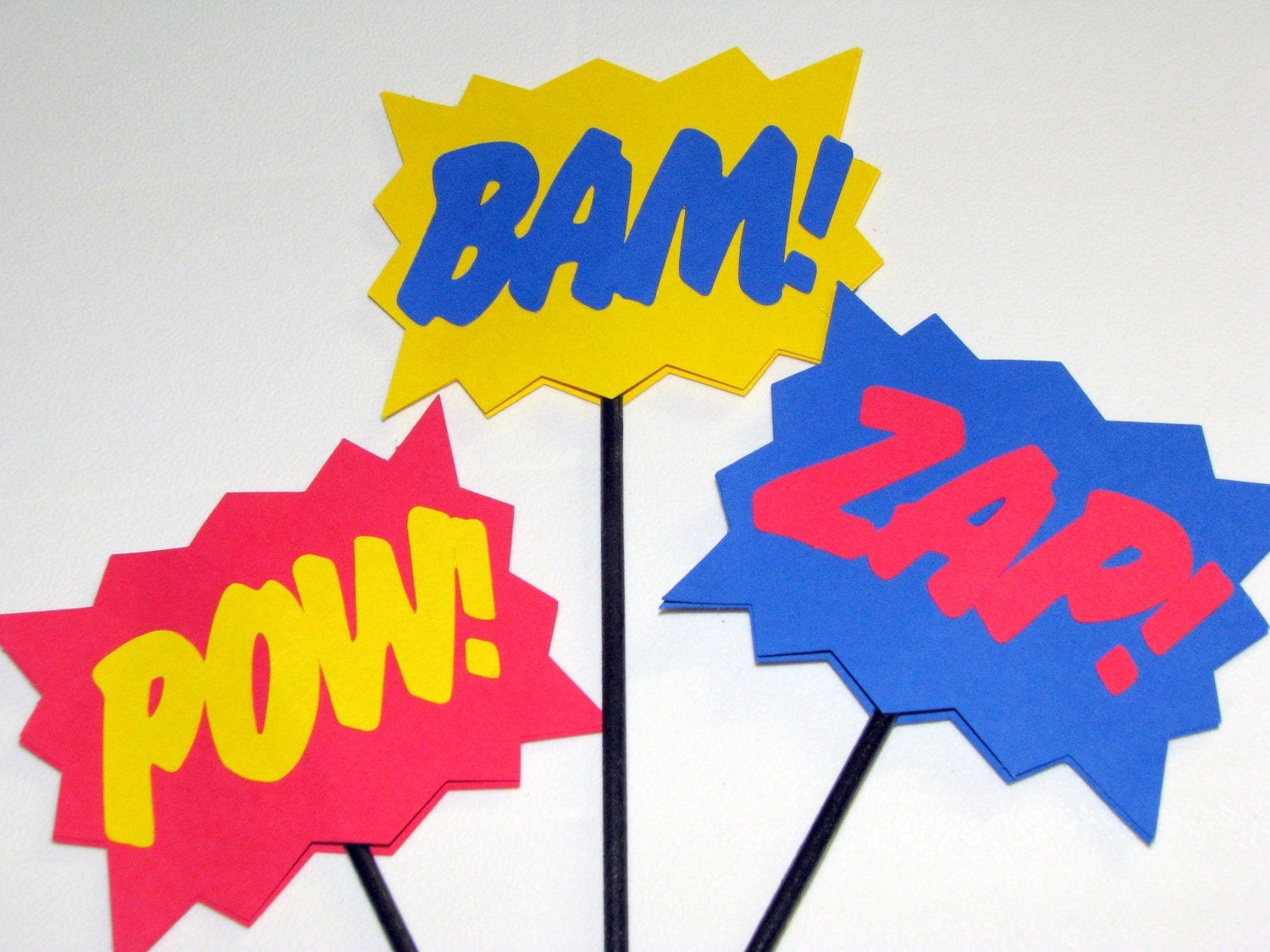 Superhero Explosion POW BAM ZAP Wands Sticks Signs Photo Prop