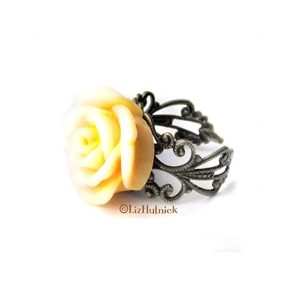 Yellow Swirled Rose Ring - Adjustable Ring. Flower Ring. August Rose Ring.