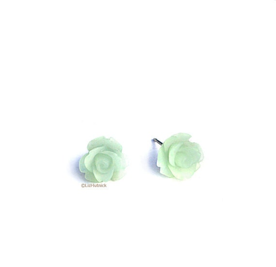 Frost Mint Rose Earrings. Mini Flower Posts.