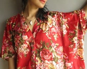 Red Floral - Nursing Kaftan - Perfect as loungewear, as beachwear, gift for moms and to be moms and more