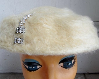 Vintage 1940s 1950s Faux Fur Rhinestones Tilt Topper Fascinator