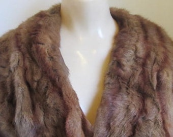 Vintage 1940s Perfect Lined Mink Shawl Stole Capelet XS S
