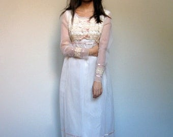 Vintage Wedding Dress with Sleeves 70s Ivory Sheer Long Sleeve Lace Maxi Dress Women - Small to Medium S M