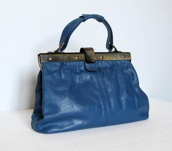 Leather Satchel Bag Blue Purse Handbag Doctor Bag 70s Leather Bag Hinged Bag
