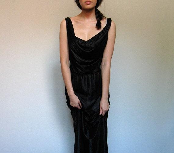 Black Maxi Dress Vintage Lingerie Slip Dress Cowl Neck Striped Dress - Small S