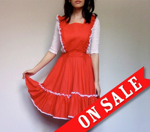 Red Pinafore Dress Full Circle Skirt Square Dance Dress Ruffle Western Girly - Extra Small. Small XS/ S