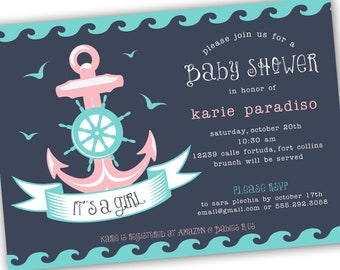 Nautical Themed Girl, Boy or Neutral Baby Shower Invite (4x6 or 5x7) - Digital Card Design