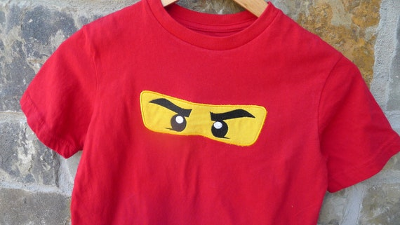 Ninjago Inspired Embroidered Shirt - Red, Green, Blue, White or Black.  Boys XS, S, M and Large sizes available