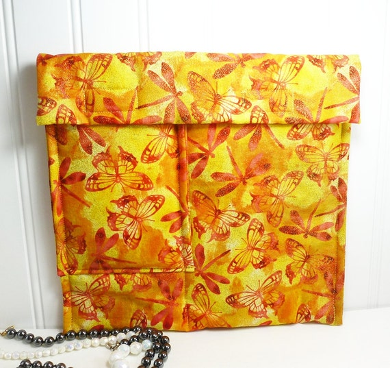 Dragonfly Jewelry travel  organizer yellow red dragonflies butterflies