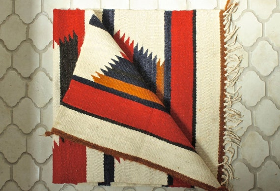 Navajo rug wall hanging wool . Native American woven textile