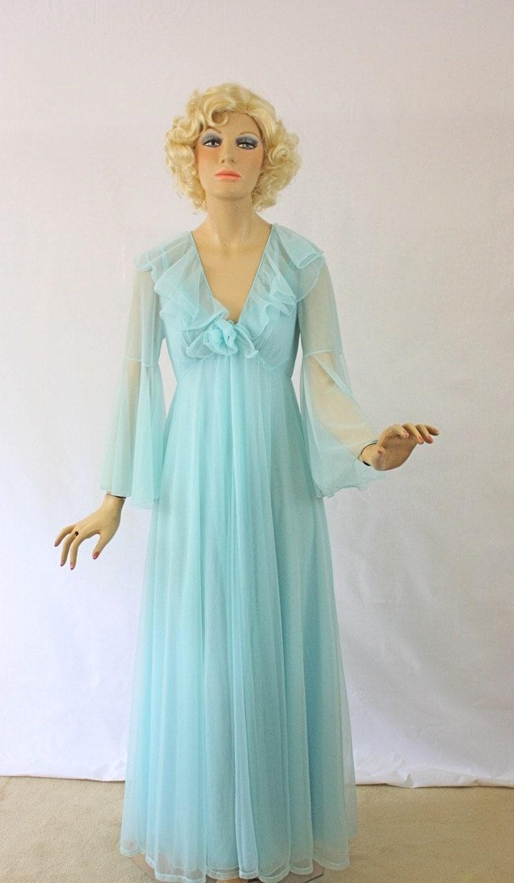 Vintage 60s Peignoir Set Sheer Double Chiffon Long Blue