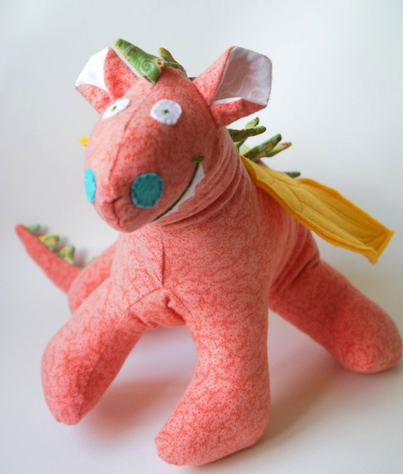 Fiona - A One of a Kind Baby Friendly Beastie or Dragon Toy Stuffed Animal in Coral