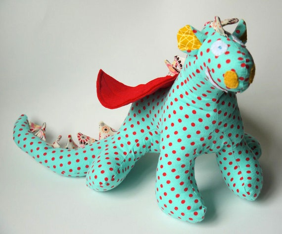 Sheldon - A Baby Friendly Dragon or Beastie Stuffed Animal Toy in Aqua and Red Polka Dots