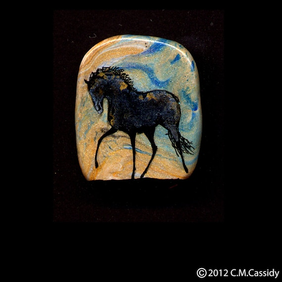Black and Gold Horse at a Canter Pin. Blue and Gold Sky