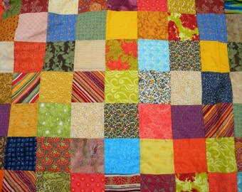 Farmhouse Quilt--Patchwork quilt--Warm Earthtone Patchwork quilt--full size--81X81, orange, green, teal, yellow, scrappy, traditional