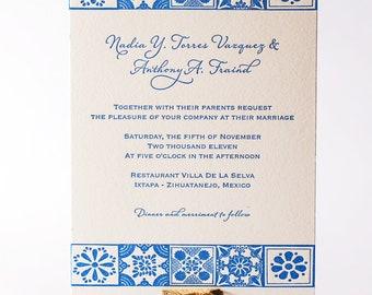 Mexican Talavera Letterpress Wedding Invitation
