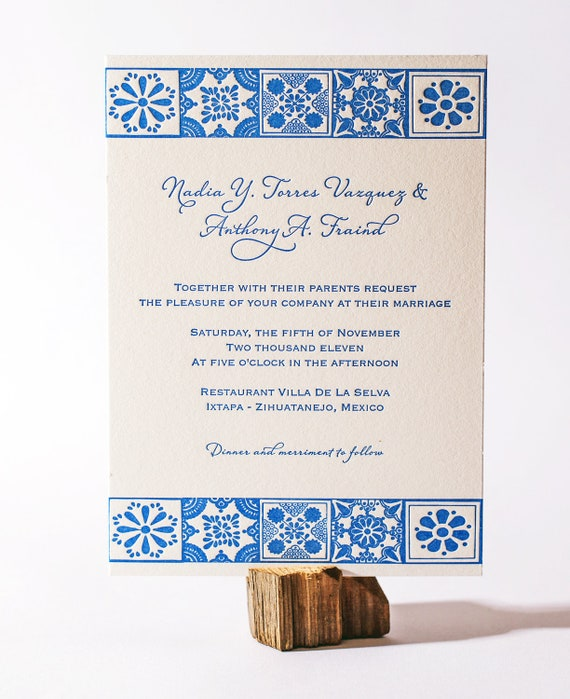Mexican Talavera Letterpress Wedding Invitation
