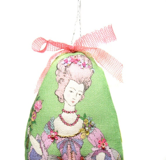 Fabulous small embellished French lady cloth doll ornament